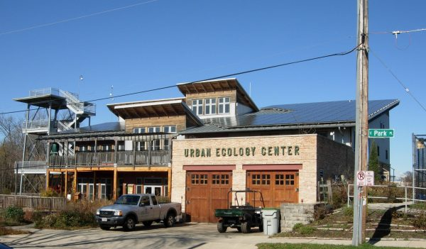 A 2012 photograph of the Urban Ecology Center's main building, constructed in 2004 in Riverside Park.