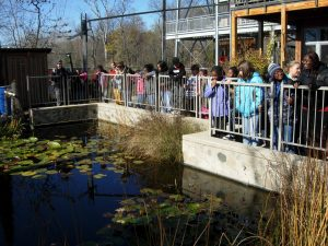 A crowd of children learning about stormwater runoff at the Urban Ecology Center.