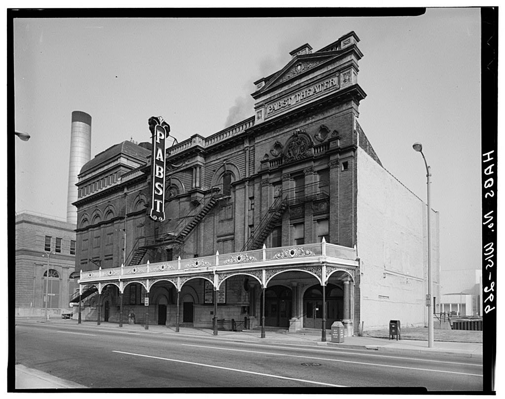 <table class=&quot;lightbox&quot;><tr><td colspan=2 class=&quot;lightbox-title&quot;>Pabst Theater</td></tr><tr><td colspan=2 class=&quot;lightbox-caption&quot;>Exterior photograph of the Pabst Theater that is still used today, built after its first structure burned down in 1895. </td></tr><tr><td colspan=2 class=&quot;lightbox-spacer&quot;></td></tr><tr class=&quot;lightbox-detail&quot;><td class=&quot;cell-title&quot;>Source: </td><td class=&quot;cell-value&quot;>From the Library of Congress Historic American Buildings Survey Collection.<br /><a href=&quot;https://www.loc.gov/resource/hhh.wi0037.photos/?sp=5&quot; target=&quot;_blank&quot;>Library of Congress</a></td></tr><tr class=&quot;filler-row&quot;><td colspan=2>&nbsp;</td></tr></table>