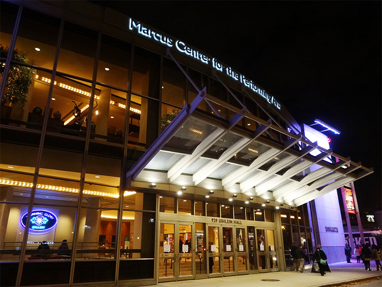 <table class=&quot;lightbox&quot;><tr><td colspan=2 class=&quot;lightbox-title&quot;>Marcus Center for the Performing Arts</td></tr><tr><td colspan=2 class=&quot;lightbox-caption&quot;>2015 photograph of the entrance to Uihlein Hall inside the Marcus Center for Performing Arts.</td></tr><tr><td colspan=2 class=&quot;lightbox-spacer&quot;></td></tr><tr class=&quot;lightbox-detail&quot;><td class=&quot;cell-title&quot;>Source: </td><td class=&quot;cell-value&quot;>From Flickr. Photograph by username Ensign Beedrill. CC BY-NC-ND 2.0.<br /><a href=&quot;https://www.flickr.com/photos/ensignbeedrill/22945573384/&quot; target=&quot;_blank&quot;>Flickr</a></td></tr><tr class=&quot;filler-row&quot;><td colspan=2>&nbsp;</td></tr></table>