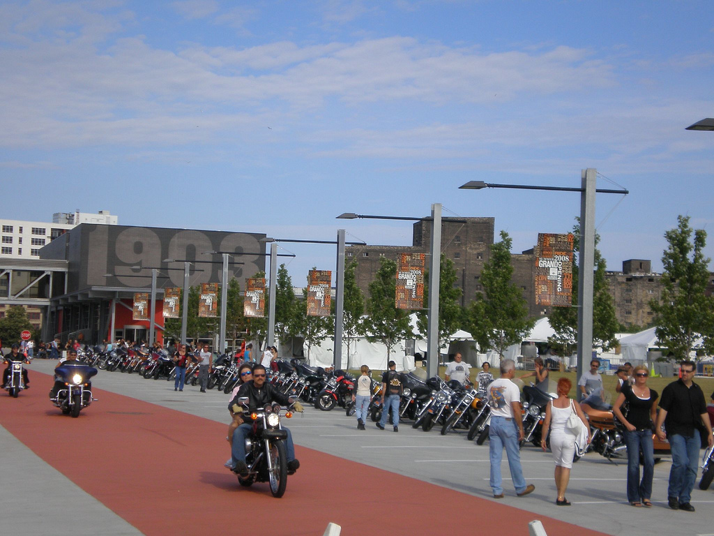 <table class=&quot;lightbox&quot;><tr><td colspan=2 class=&quot;lightbox-title&quot;>Harley Davidson Museum</td></tr><tr><td colspan=2 class=&quot;lightbox-caption&quot;>Harley Davidson motorcycle enthusiasts gather outside the newly-opened museum in 2008. </td></tr><tr><td colspan=2 class=&quot;lightbox-spacer&quot;></td></tr><tr class=&quot;lightbox-detail&quot;><td class=&quot;cell-title&quot;>Source: </td><td class=&quot;cell-value&quot;>From Flickr. Photograph by David Reid. CC BY-NC 2.0.<br /><a href=&quot;https://www.flickr.com/photos/davereid/2664095290/&quot; target=&quot;_blank&quot;>Flickr</a></td></tr><tr class=&quot;filler-row&quot;><td colspan=2>&nbsp;</td></tr></table>
