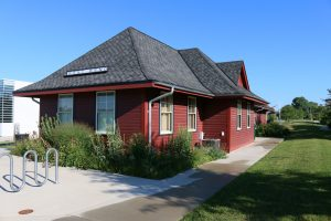 A 2016 photograph of the restored West Bend railroad depot, originally built in 1900.