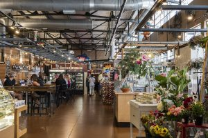 Interior view of a shop and food venue at the Milwaukee Public Market, located in the Historic Third Ward.
