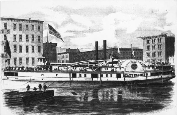 Illustration of the steamship Lady Elgin docked in Chicago the day before she sank during her return trip to Milwaukee.