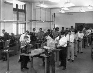Students work in a shoe rebuilding class held at the Milwaukee Vocational and Adult Schools in 1961.