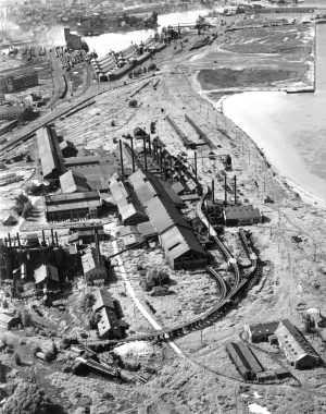 The Bay View Rolling Mills employed many neighborhood residents for decades after opening in 1868. This photograph shows the plant in 1938, shortly before its demolition.