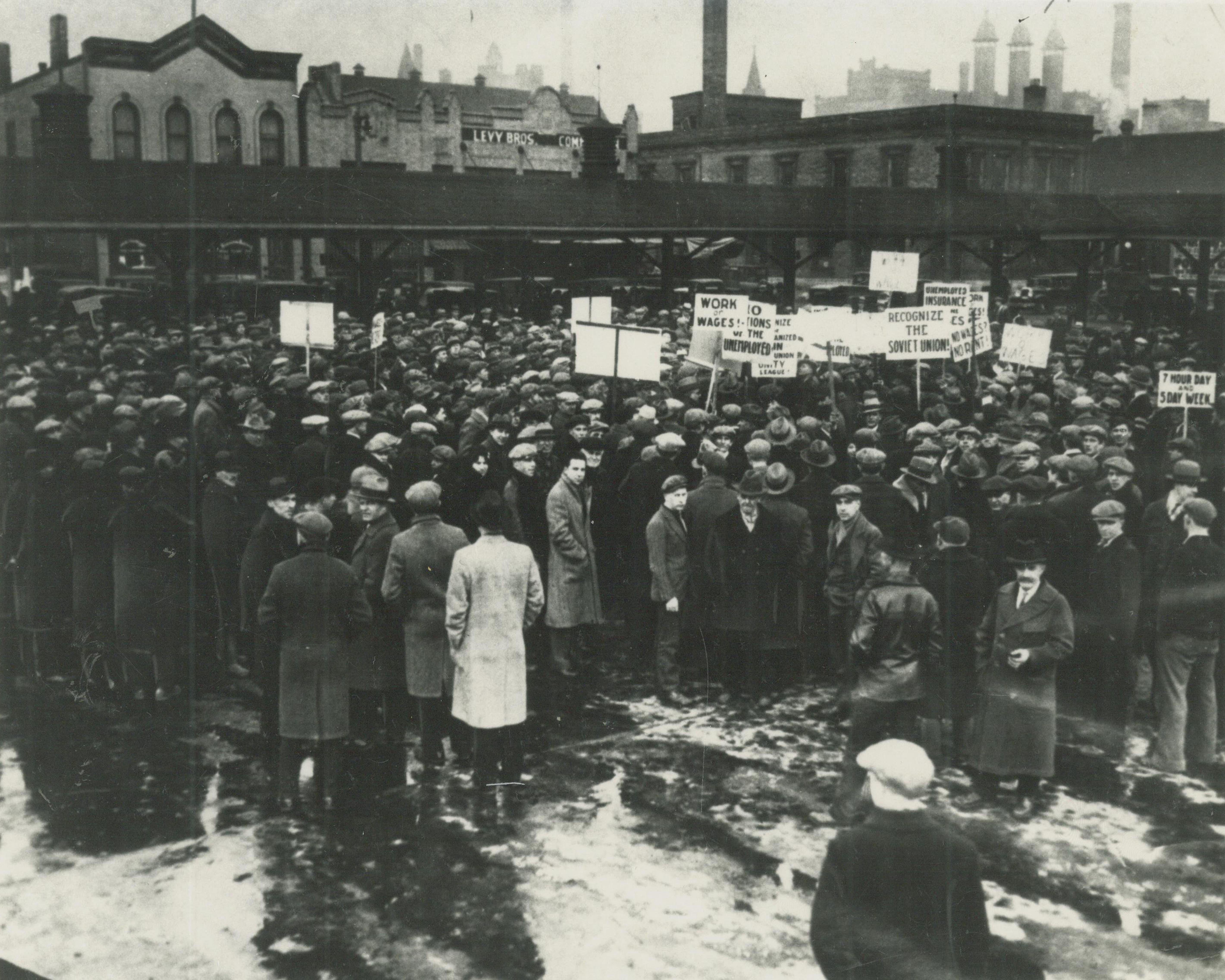 <table class=&quot;lightbox&quot;><tr><td colspan=2 class=&quot;lightbox-title&quot;>Protestors Gather in Haymarket Square</td></tr><tr><td colspan=2 class=&quot;lightbox-caption&quot;>A large group of demonstrators gathered in Haymarket Square on February 13, 1930 to listen to Communist speakers, protest working conditions, and call for the recognition of the Soviet Union.</td></tr><tr><td colspan=2 class=&quot;lightbox-spacer&quot;></td></tr><tr class=&quot;lightbox-detail&quot;><td class=&quot;cell-title&quot;>Source: </td><td class=&quot;cell-value&quot;>From the Historic Photo Collection of the Milwaukee Public Library. Reprinted with permission.<br /><a href=&quot;http://content.mpl.org/cdm/singleitem/collection/HstoricPho/id/3968/rec/2&quot; target=&quot;_blank&quot;>Milwaukee Public Library</a></td></tr><tr class=&quot;filler-row&quot;><td colspan=2>&nbsp;</td></tr></table>
