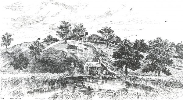 Illustration of Jacques Vieau's cabin outpost. Vieau was Milwaukee's first permanent fur trading agent.
