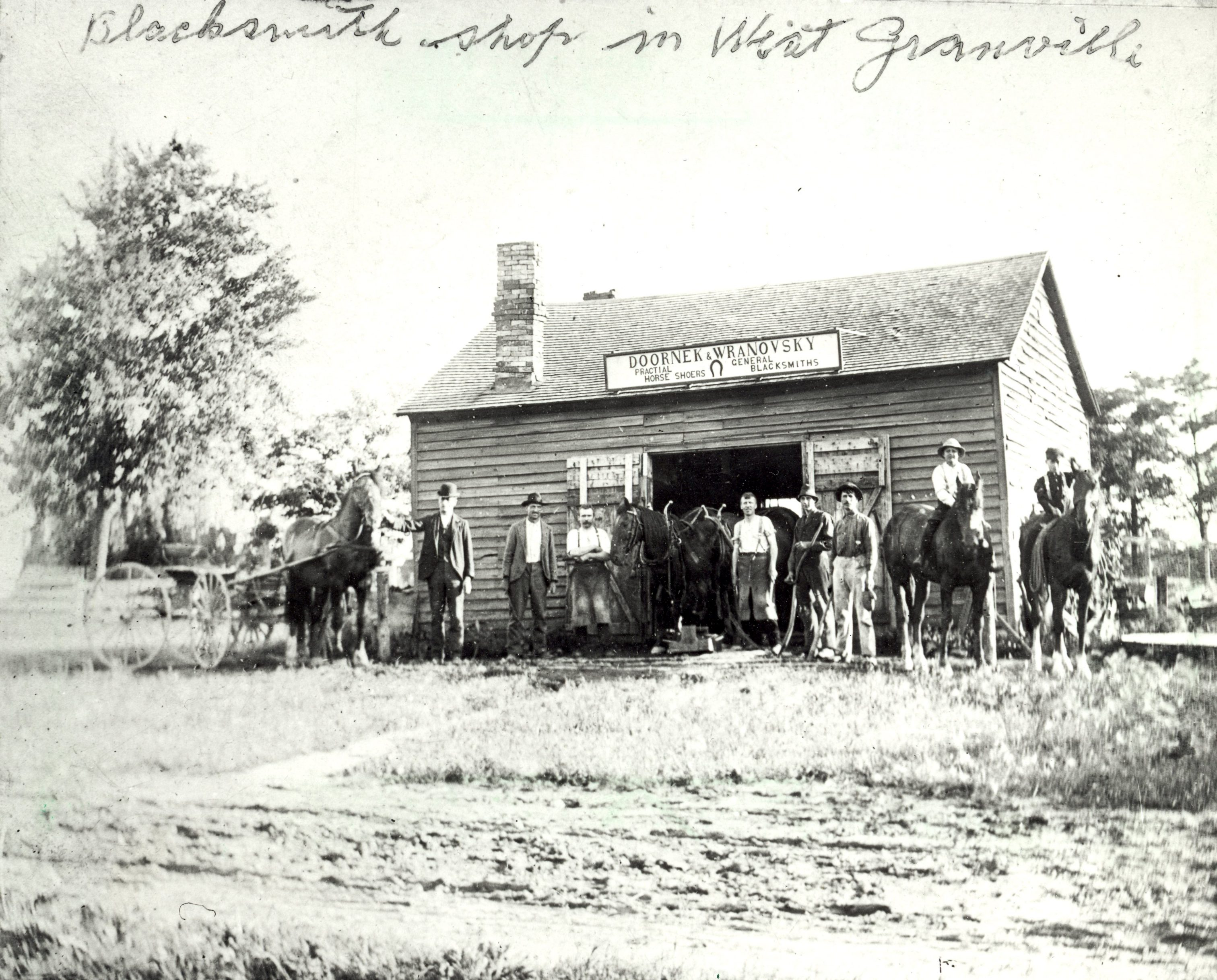 An 1898 photograph of the Doornek & Wranovsky Blacksmith shop in Granville.