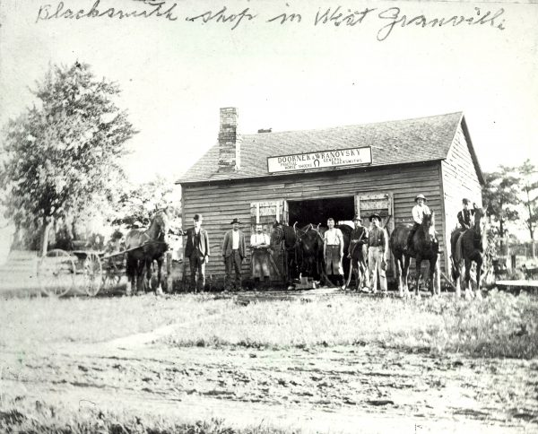 An 1898 photograph of the Doornek & Wranovsky Blacksmith shop in Granville.