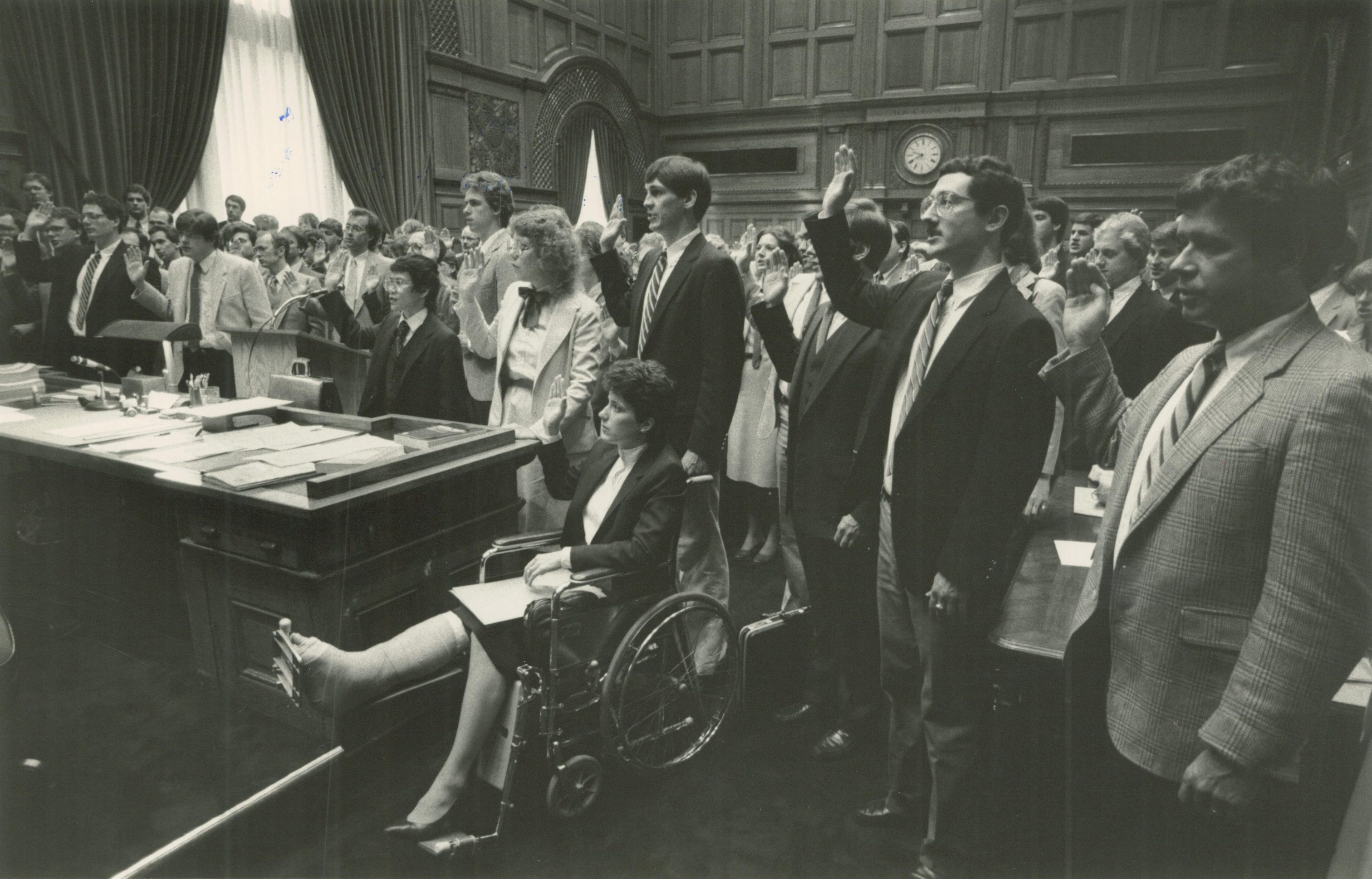 A group of Milwaukee lawyers are being sworn in in this photo from 1984.