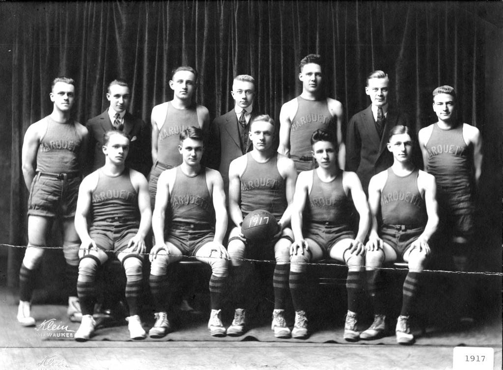 Team photograph of the Marquette University men's basketball squad from 1917.