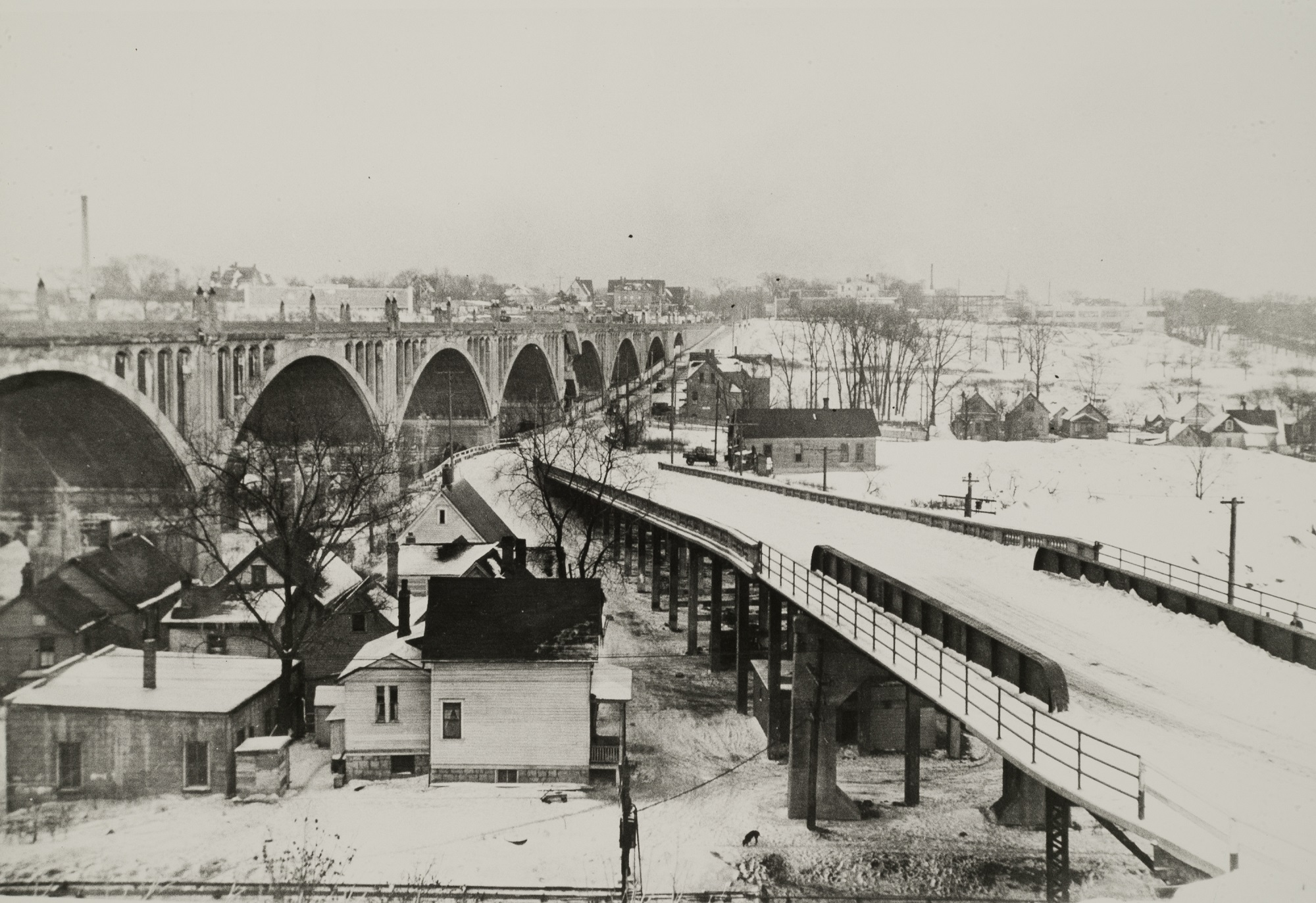 The northwest portion of the Piggsville neighborhood was once located around and beneath the Wisconsin Avenue viaduct after its construction was completed in 1911.