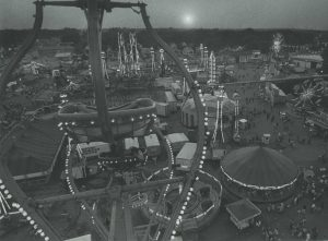 A view of the Wisconsin State Fair from atop the giant Ferris Wheel in 1971.
