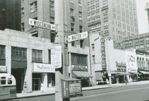 Street signs at the intersection Water and Wisconsin are shown in this 1958 photograph.