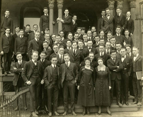 <table class=&quot;lightbox&quot;><tr><td colspan=2 class=&quot;lightbox-title&quot;>Marquette Law School Students</td></tr><tr><td colspan=2 class=&quot;lightbox-caption&quot;>Students of Marquette University's day law school program stand on the porch of the Mackie Home, which housed the law school until 1923, in 1918. </td></tr><tr><td colspan=2 class=&quot;lightbox-spacer&quot;></td></tr><tr class=&quot;lightbox-detail&quot;><td class=&quot;cell-title&quot;>Source: </td><td class=&quot;cell-value&quot;>Department of Special Collections and University Archives, Marquette University.<br /><a href=&quot;http://cdm16280.contentdm.oclc.org/cdm/singleitem/collection/p16280coll1/id/1479/rec/22&quot; target=&quot;_blank&quot;>Marquette University</a></td></tr><tr class=&quot;filler-row&quot;><td colspan=2>&nbsp;</td></tr></table>