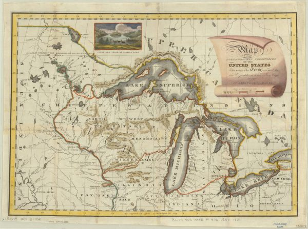 1821 map of the Great Lakes and Northwestern Territories, when Wisconsin was part of the Michigan Territory. The red lines indicate the route taken by Lewis Cass, governor of the Michigan Territory, in 1820.