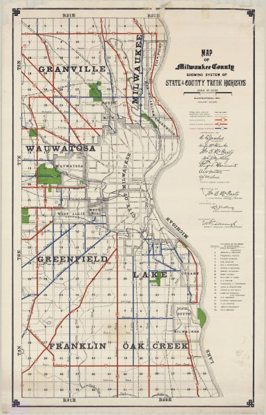 This 1927 map shows state and county trunk highways in Milwaukee County.