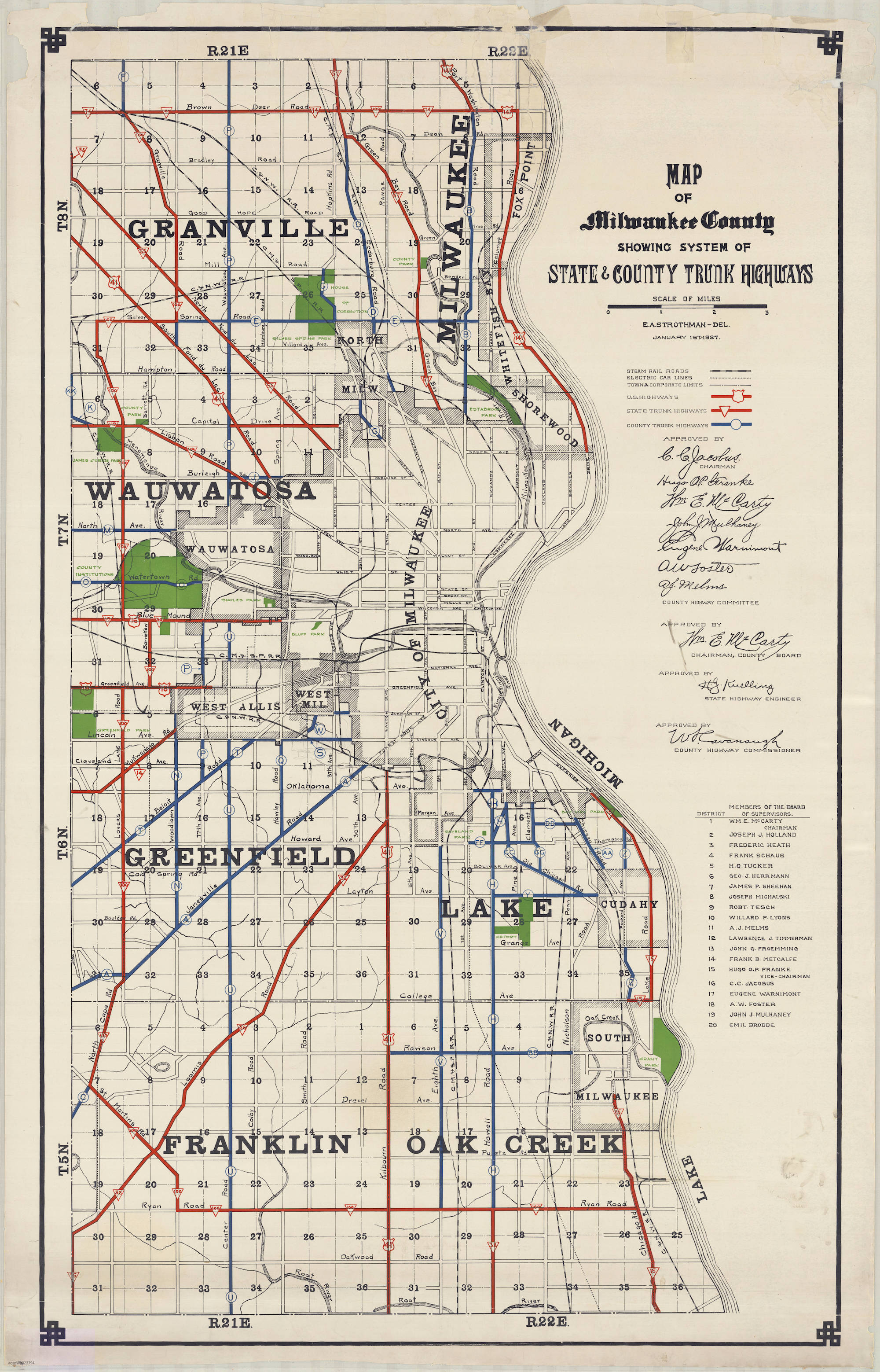 <table class=&quot;lightbox&quot;><tr><td colspan=2 class=&quot;lightbox-title&quot;>Milwaukee County Roads</td></tr><tr><td colspan=2 class=&quot;lightbox-caption&quot;>This 1927 map shows state and county trunk highways in Milwaukee County.</td></tr><tr><td colspan=2 class=&quot;lightbox-spacer&quot;></td></tr><tr class=&quot;lightbox-detail&quot;><td class=&quot;cell-title&quot;>Source: </td><td class=&quot;cell-value&quot;>From the American Geographical Society Library Digital Map Collection. University of Wisconsin-Milwaukee Libraries.<br /><a href=&quot;https://collections.lib.uwm.edu/digital/collection/agdm/id/13816/rec/2&quot; target=&quot;_blank&quot;>University of Wisconsin-Milwaukee Libraries</a></td></tr><tr class=&quot;filler-row&quot;><td colspan=2>&nbsp;</td></tr></table>