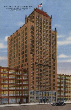 The Milwaukee headquarters of the Wisconsin Bell Telephone Company, shown in this early 20th century postcard.