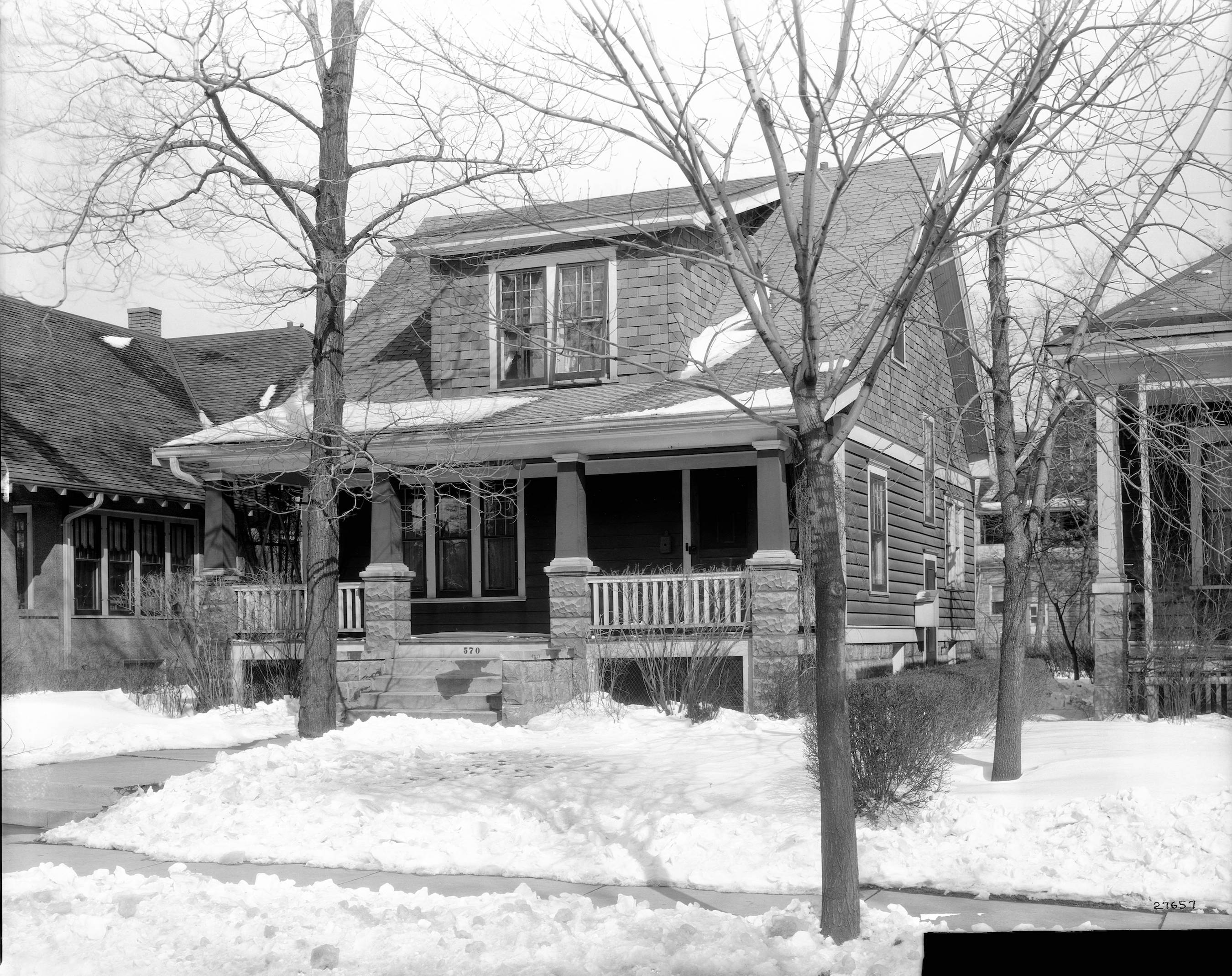 A 1930 photograph of a house on 68th Avenue on a snowy March day.
