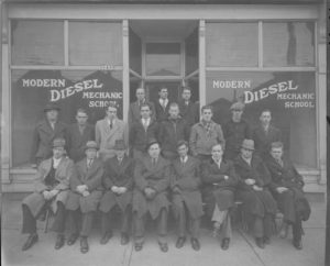 Students of the Modern Diesel Mechanic School, located at 1430 S. 1st Street, pose for a group photograph in 1936.
