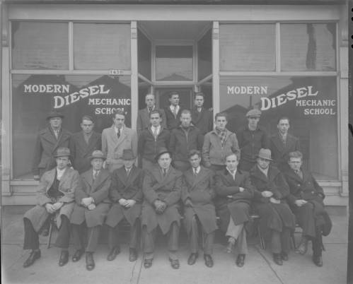 <table class=&quot;lightbox&quot;><tr><td colspan=2 class=&quot;lightbox-title&quot;>Modern Diesel Mechanic School</td></tr><tr><td colspan=2 class=&quot;lightbox-caption&quot;>Students of the Modern Diesel Mechanic School, located at 1430 S. 1st Street, pose for a group photograph in 1936. </td></tr><tr><td colspan=2 class=&quot;lightbox-spacer&quot;></td></tr><tr class=&quot;lightbox-detail&quot;><td class=&quot;cell-title&quot;>Source: </td><td class=&quot;cell-value&quot;>From the Roman B. Kwaniewski Photographs Collection, Archives. University of Wisconsin-Milwaukee Libraries. <br /><a href=&quot;https://collections.lib.uwm.edu/digital/collection/mke-polonia/id/36044/rec/22&quot; target=&quot;_blank&quot;>University of Wisconsin-Milwaukee Libraries</a></td></tr><tr class=&quot;filler-row&quot;><td colspan=2>&nbsp;</td></tr></table>