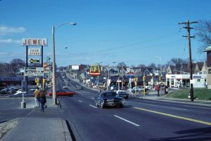 A northward view from the intersection of 35th Street and Highland Boulevard, as seen in 1978.