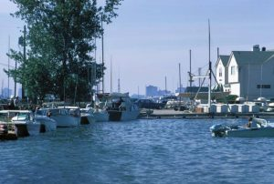 As the neighborhood's name suggests, Bay View fronts Lake Michigan, as seen in this 1974 photograph of the South Shore Yacht Club.