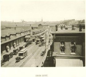 A photograph of the old Union Depot in Walker's Point, which the Chicago, Milwaukee and St. Paul Railroad replaced in 1886 with a new one on Michigan Avenue.