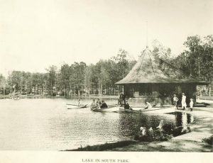 This 1895 photograph shows recreational boaters enjoying the lake in South Park, near the intersection of South Howell and Oklahoma Avenues.