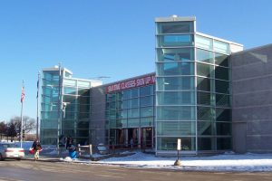 Photograph of the front entrance of the Pettit National Ice Center taken in winter of 2006.