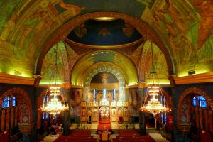 The interior of St. Sava is decorated with ornate, colorful mosaics imported from Italy, as seen here.