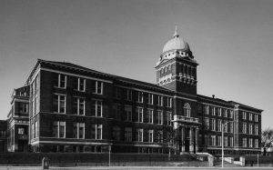 South Division High School was a landmark on Lapham Street from 1893 until its demolition in 1978. The school's signature domed cupola now serves as the roof over the entrance to Bluemel's Garden Center in Greenfield.