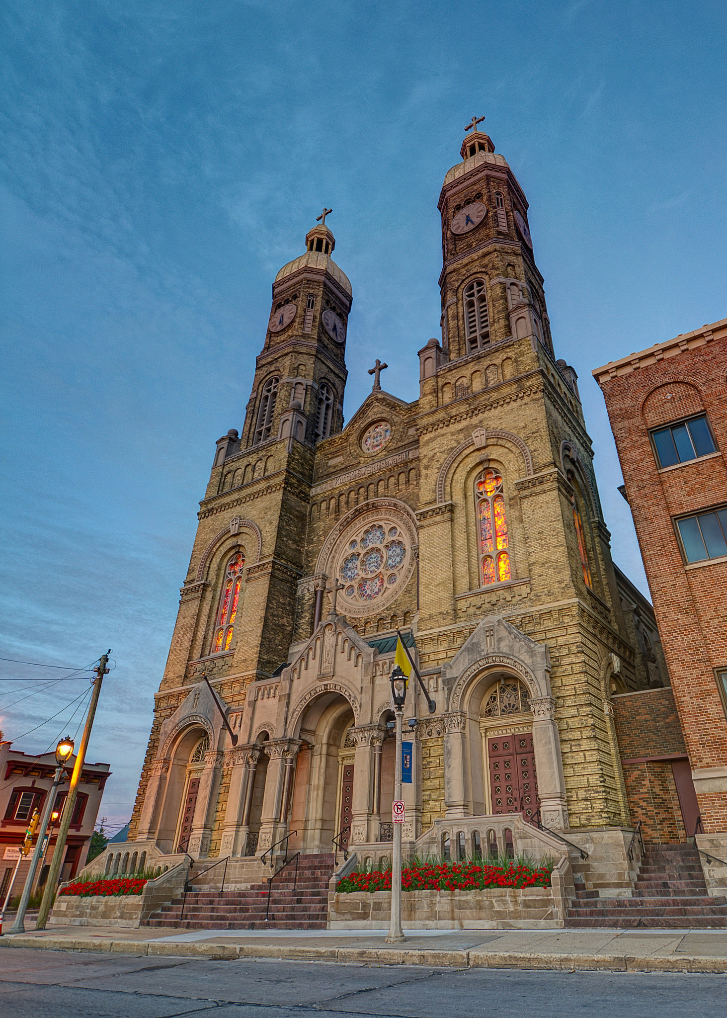 2015 photograph of the front entrance to St. Stanislaus Parish in the historic Mitchell Street District of downtown Milwaukee.