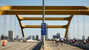 Cyclists cross the Hoan Bridge in this 2011 photograph of the annual UPAF Ride for the Arts.