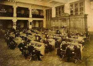 In this photo, the 1898-1899 Common Council members gather in the council chambers. Until 1956, Milwaukee's Common Council members were all white males.
