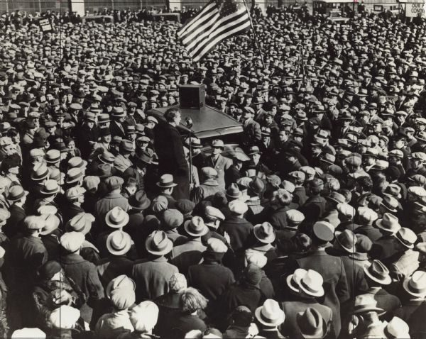 The Socialists' ardent support for the labor movement is evidenced here by Mayor Daniel Hoan's speech before hundreds of strikers at the Seaman Auto Body plant.
