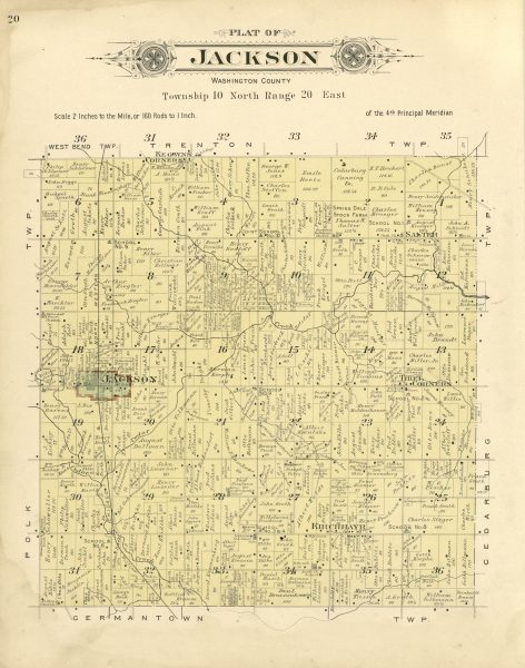 This 1915 map shows the Town of Jackson, with the Village of Jackson outlined in red, as well as the unincorporated communities of Salter, Thiel Corners, Kirchhayn, and Keowns Corners.