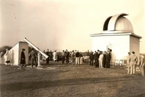 Members gather for the 1938 dedication of the Milwaukee Astronomical Society in New Berlin.