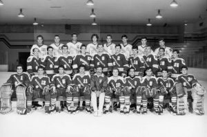 The members of Marquette University's 1988-1989 club hockey team pose for a group photograph.
