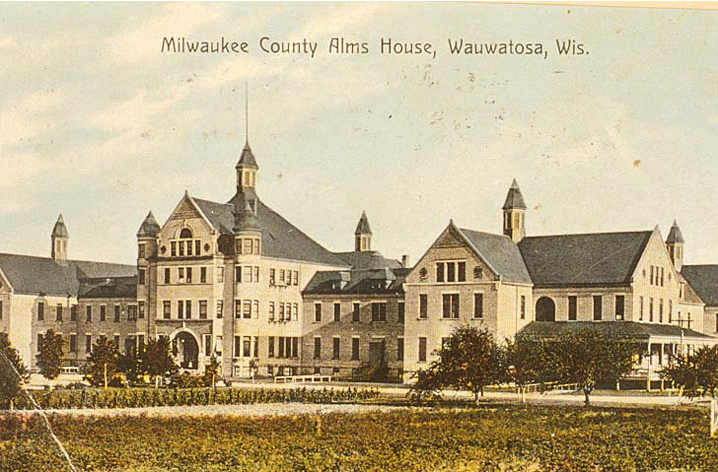 This postcard illustrates the Milwaukee County Alms House, one of the first institutions created by Milwaukee County.