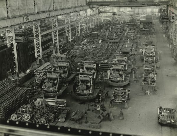 Bird's eye view of the interior of the Pawling and Harnischfeger manufacturing plant located on W. National Avenue.