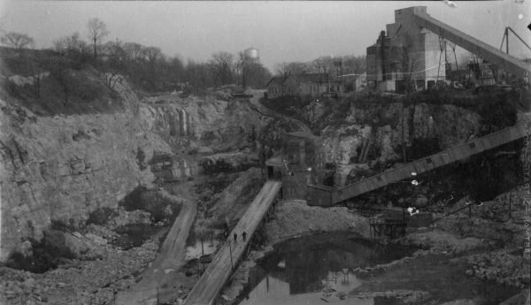 This Certified Concrete quarry facility, pictured here in 1934, was once located on the north side of State Street, east of N. 68th Street. The company used crushed stone to make concrete.