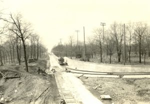 Story Hill's Calvary Cemetery is visible on the right in this photograph  of a streetcar.