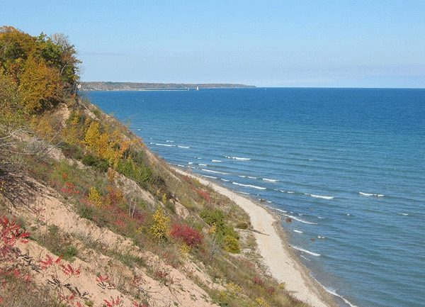 This photo captures a view of Lake Michigan, looking towards Port Washington, from the Lion's Den Gorge Nature Preserve in Grafton.