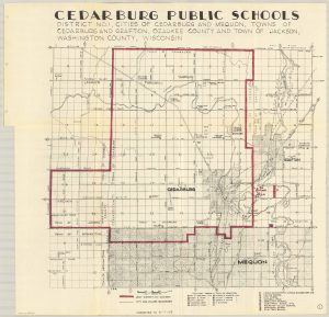 This map outlines the boundaries of District No. 1 of Cedarburg Public Schools in 1963. In whole or part, it included the cities of Cedarburg and Mequon, towns of Cedarburg and Grafton, and the town of Jackson.