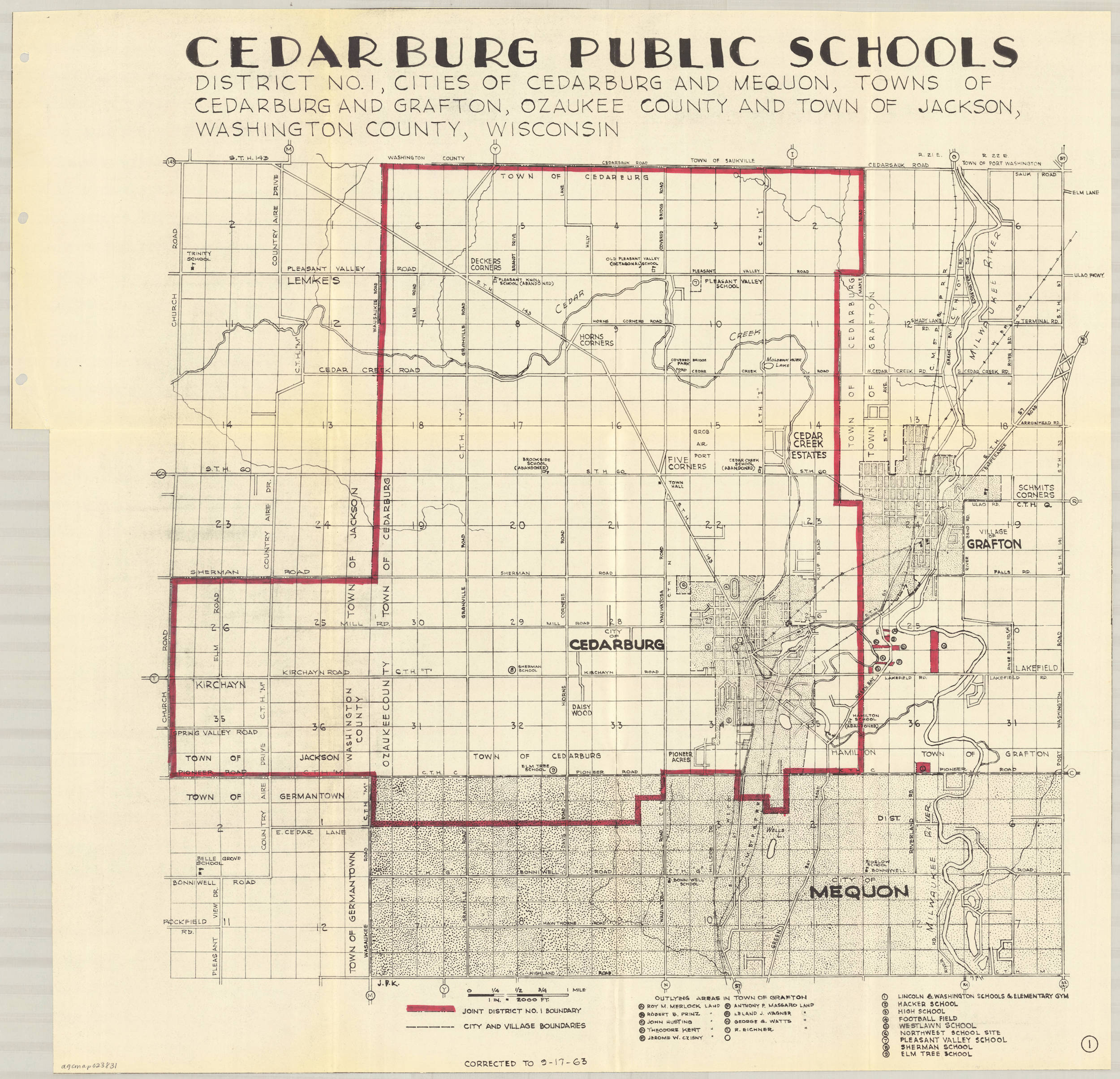 <table class=&quot;lightbox&quot;><tr><td colspan=2 class=&quot;lightbox-title&quot;>Cedarburg Public Schools</td></tr><tr><td colspan=2 class=&quot;lightbox-caption&quot;>This map outlines the boundaries of District No. 1 of Cedarburg Public Schools in 1963. In whole or part, it included the cities of Cedarburg and Mequon, towns of Cedarburg and Grafton, and the town of Jackson.</td></tr><tr><td colspan=2 class=&quot;lightbox-spacer&quot;></td></tr><tr class=&quot;lightbox-detail&quot;><td class=&quot;cell-title&quot;>Source: </td><td class=&quot;cell-value&quot;>From the American Geographical Society Library Digital Map Collection. University of Wisconsin-Milwaukee Libraries.<br /><a href=&quot;https://collections.lib.uwm.edu/digital/collection/agdm/id/13840/rec/1&quot; target=&quot;_blank&quot;>University of Wisconsin-Milwaukee Libraries</a></td></tr><tr class=&quot;filler-row&quot;><td colspan=2>&nbsp;</td></tr></table>
