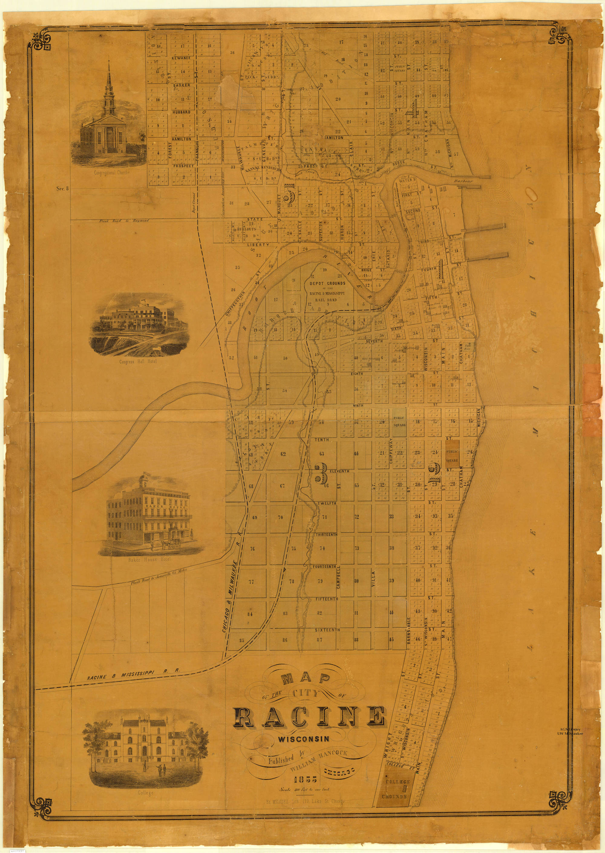 This 1855 map shows the City of Racine (now the seat of Racine County) 14 years after it was chartered as a village and 9 years after it became a city.