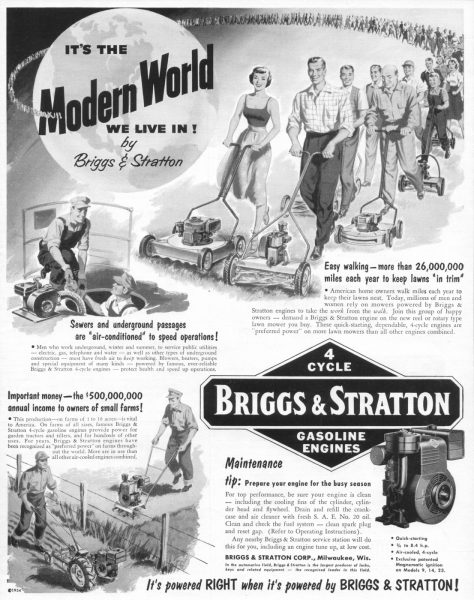 This 1954 advertisement highlights the many convenient uses of the Briggs & Stratton 4-cycle engines.